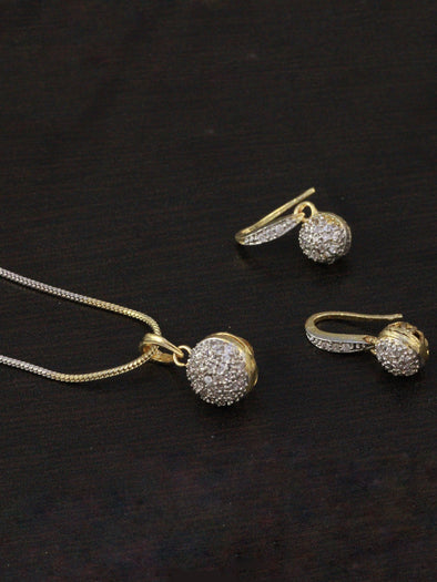 Round American Diamond Pendant Set with Earrings