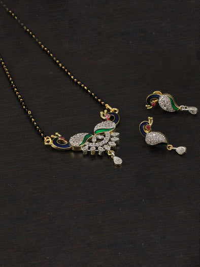 Peacock American Diamond Mangalsutra with Earrings