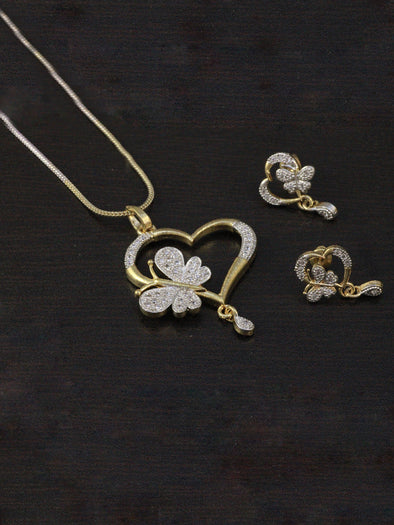 Heart Shaped American Diamond Pendant Necklace Set with Earrings