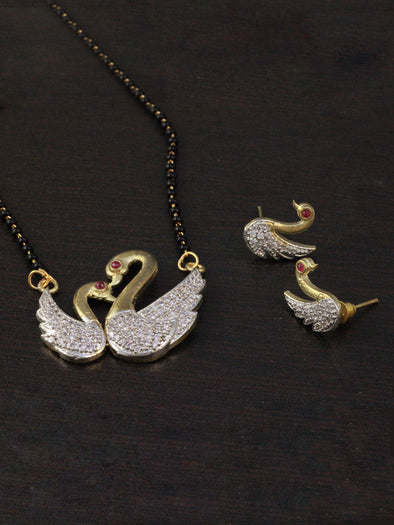 American Diamond Swan Pendant Mangalsutra with Earrings