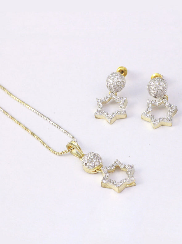 American Diamond Star Shaped Pendant Necklace Set with Earrings, Ring and Bracelet