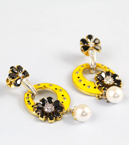 Black Stone and Yellow Enamel Designer American Diamond Earrings