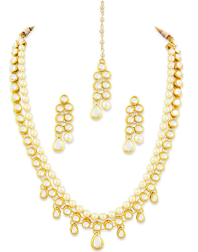 Karatcart 22K GoldPlated Kundan Layered Pearl Drop Ethnic Rani Haar Necklace Set for Women