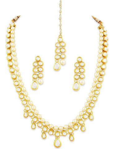 Karatcart 22K GoldPlated Kundan Layered Pearl Drop Ethnic Necklace Set for Women