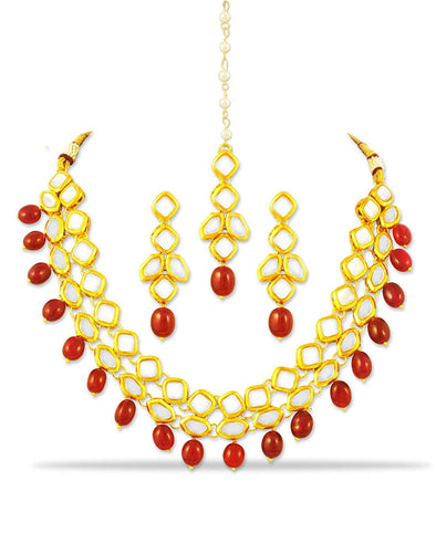 Karatcart 22K GoldPlated Antique Origins Kundan Red Drop Necklace Set for Women