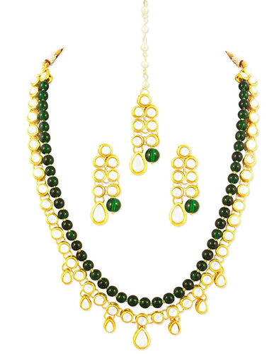 Karatcart 22K GoldPlated Kundan Layered Green Drop Ethnic Rani Haar Necklace Set