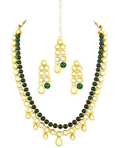 Karatcart 22K GoldPlated Kundan Layered Green Drop Ethnic Necklace Set for Women