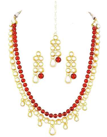 Karatcart 22K GoldPlated Kundan Layered Red Drop Ethnic Necklace Set for Women