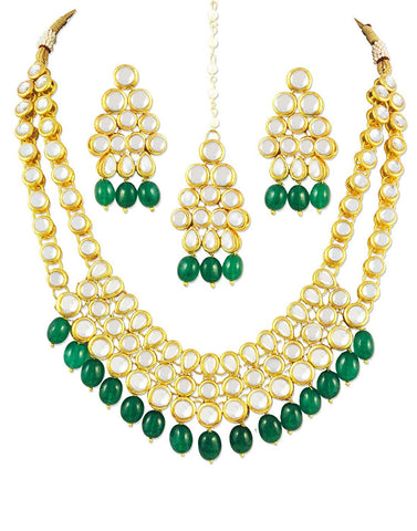 karatcart Women's 22K Gold-Plated Kundan Drop Necklace Set(Green)