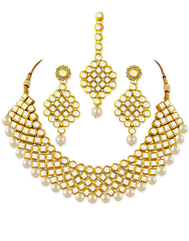 Karatcart 22K GoldPlated Antique Origins Kundan Pearl Necklace Set for Women