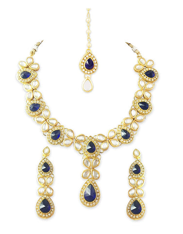 Karatcart 22K GoldPlated Blue Stone Kundan Jewellery Set for Women
