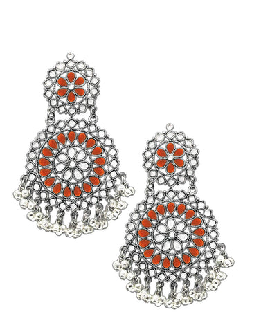 Karatcart Orange Afghani Tribal Oxidised Dangler Stylish Fancy Party Wear light Weight Earrings For Women