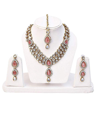 Karatcart 22K GoldPlated Pink Stone Kundan Jewellery Set for Women