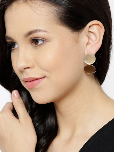 Gold Metal Geometrical Half Hoop Crystal Earrings