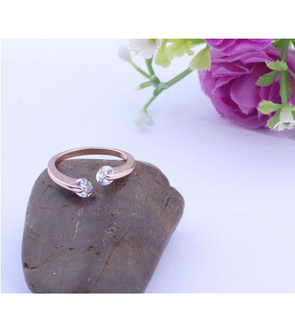 Rose Gold Plated Trendy Elegant Austrian Crystal Adjustable Ring