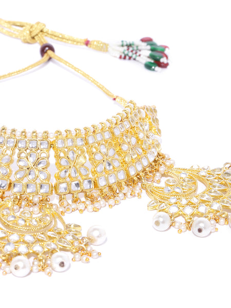 Kunuz Kundan Bridal Necklace with Earrings and mangtikka