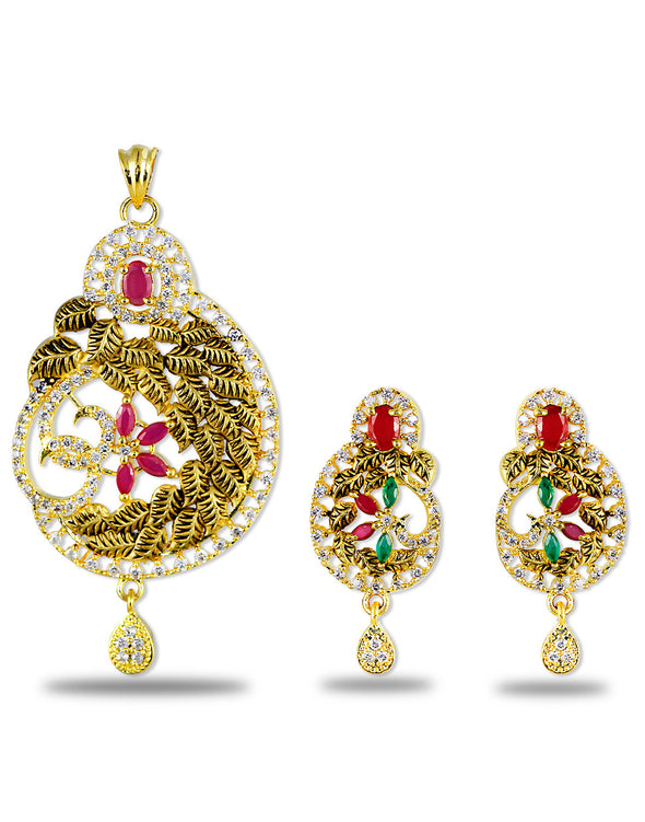 Gold Plated American Diamond Studded Multicolor Antique Pendant Set