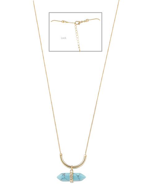 Gold Long Chain Blue Turq Necklace For Women