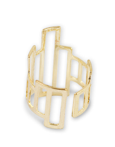 Metal Gold Asymmetrical Geometrical Adjustable Ring