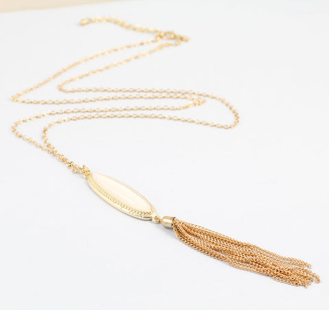 Gold Metal Long Chain Pink Stone Necklace For Women