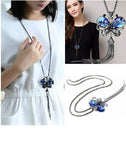 Austrian Crystal Blue Butterfly Silver Metal Long Chain Necklace