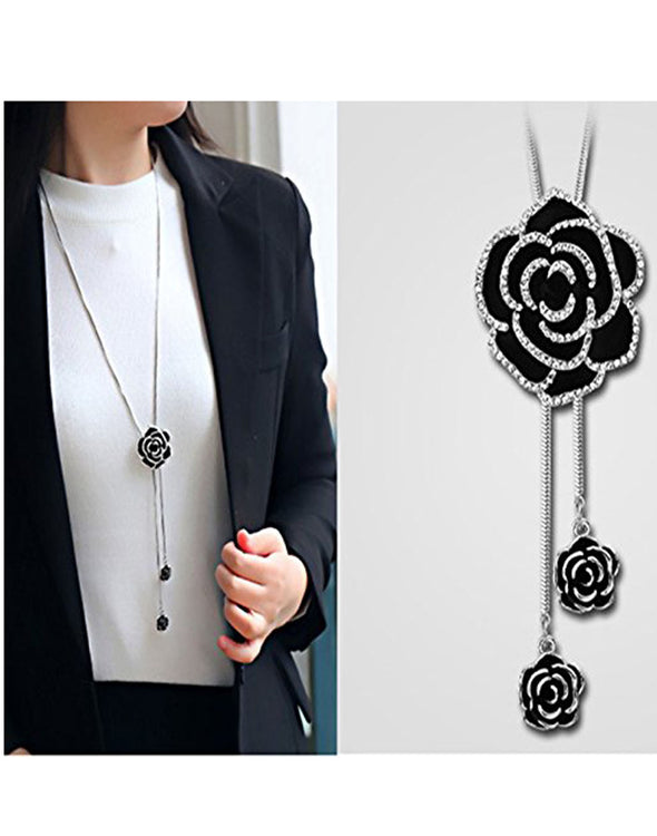 Black Rose Metal Chain Pendant for Women