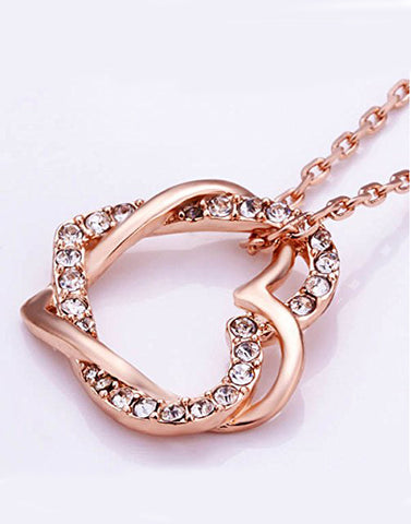 Rose GoldPlated Austrian Crystal Long Chain Pendant