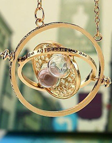 Women's Metal Long Chain Harry Potter Sand Timer Necklace