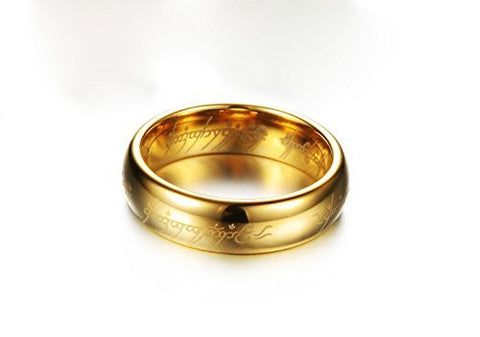Lord of The Rings 100% Stainless Steel 18K Gold Plated Ring for Boys and Men