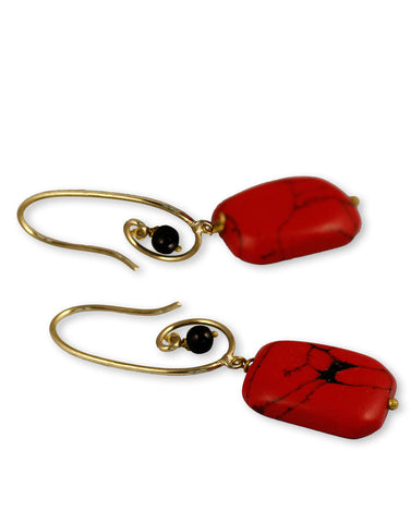 Red Faux turquoise Earrings For women