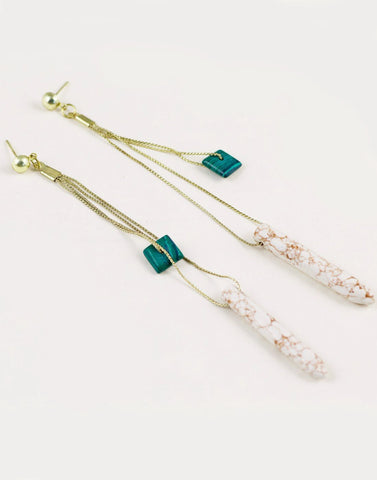 Malachite and Turquoise Chain Earrings