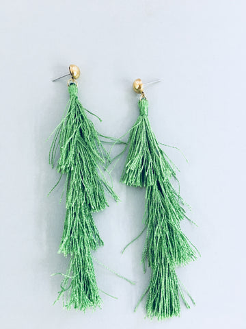 Green Tassel Earrings