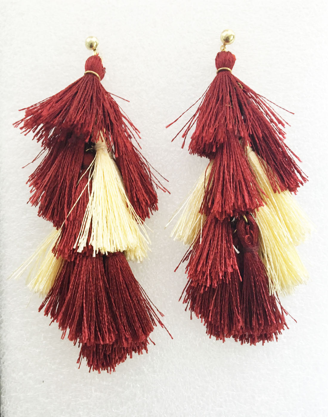 Red and White Tassel Earrings