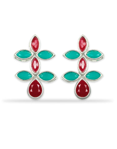 Red and Green Dangle Earrings