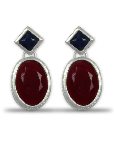 Navy Blue and Ruby Stone Dangle Earrings