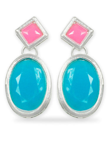 Pink and Blue Stone Dangle Earrings