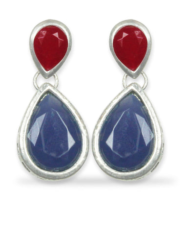 Navy Blue and Red Stone Dangle Earrings