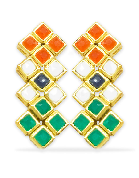 GoldPlated Independence day special Indian Flag Colour Kundan Dangle Earrings For Women