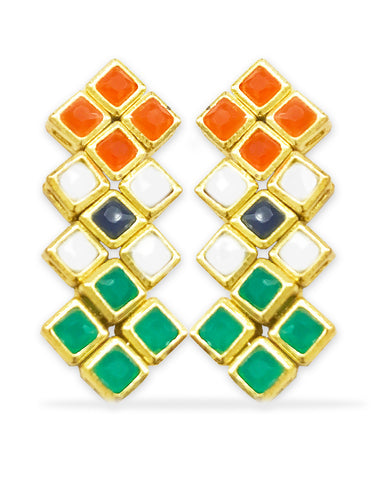 GoldPlated Independence day special Indian Flag Colour Dangle Earrings For Women