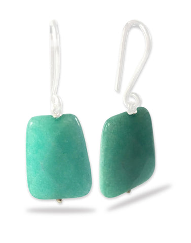 Sea Green Stone Fish Hook Dangle Earrings