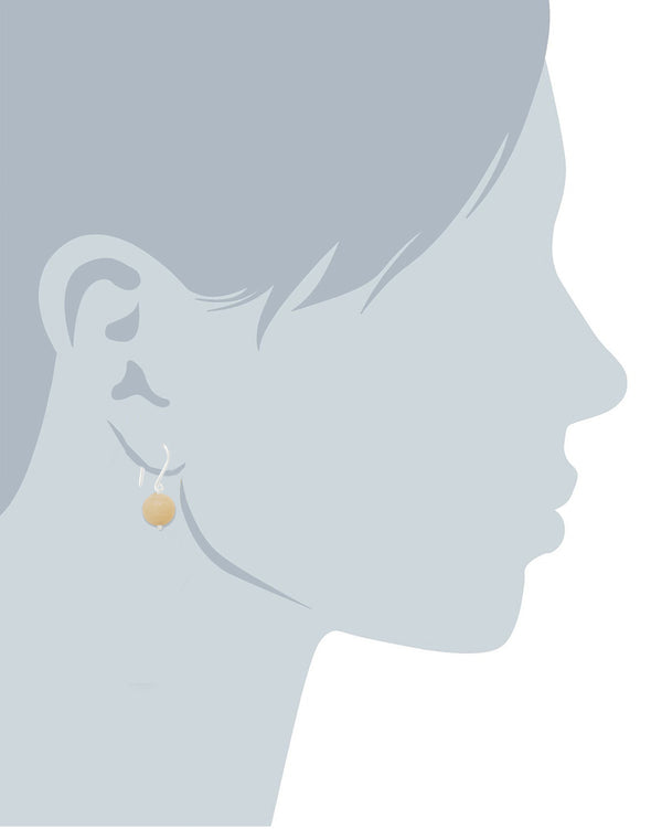 Peach Ball Stone Fish Hook Drop Earrings