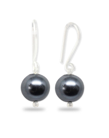 Metallic Grey Pearl Fish Hook Drop Earrings