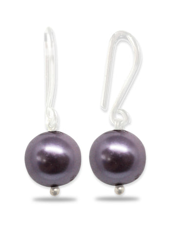 Metallic Purple Pearl Fish Hook Drop Earrings
