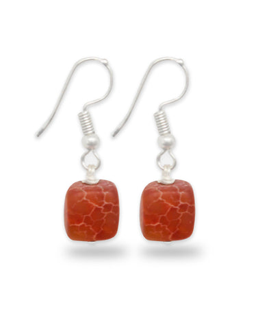 Orange Matte Stone Fish Hook Drop Earrings