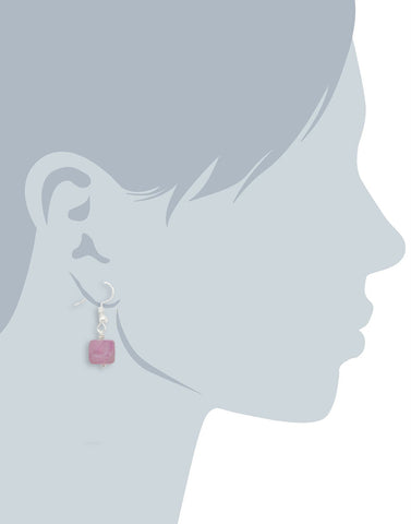 Matte Pink Stone Fish Hook Drop Earrings