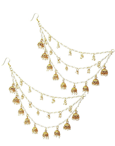 Fashion Jewellery GoldPlated Multi-Layered Jhumki Drop Kaanchain