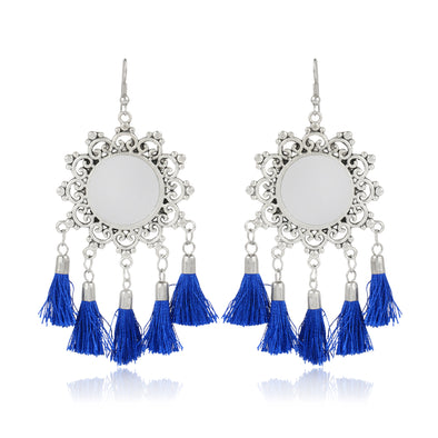 Tribal Blue Tassel Earrings