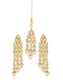 GoldPlated Kundan Dangler Stylish Fancy Party Wear Earrings With Maang-Tikka For Women