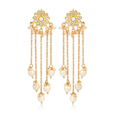 Kunuz Kundan Earrings with Chain and Pearl Tassels