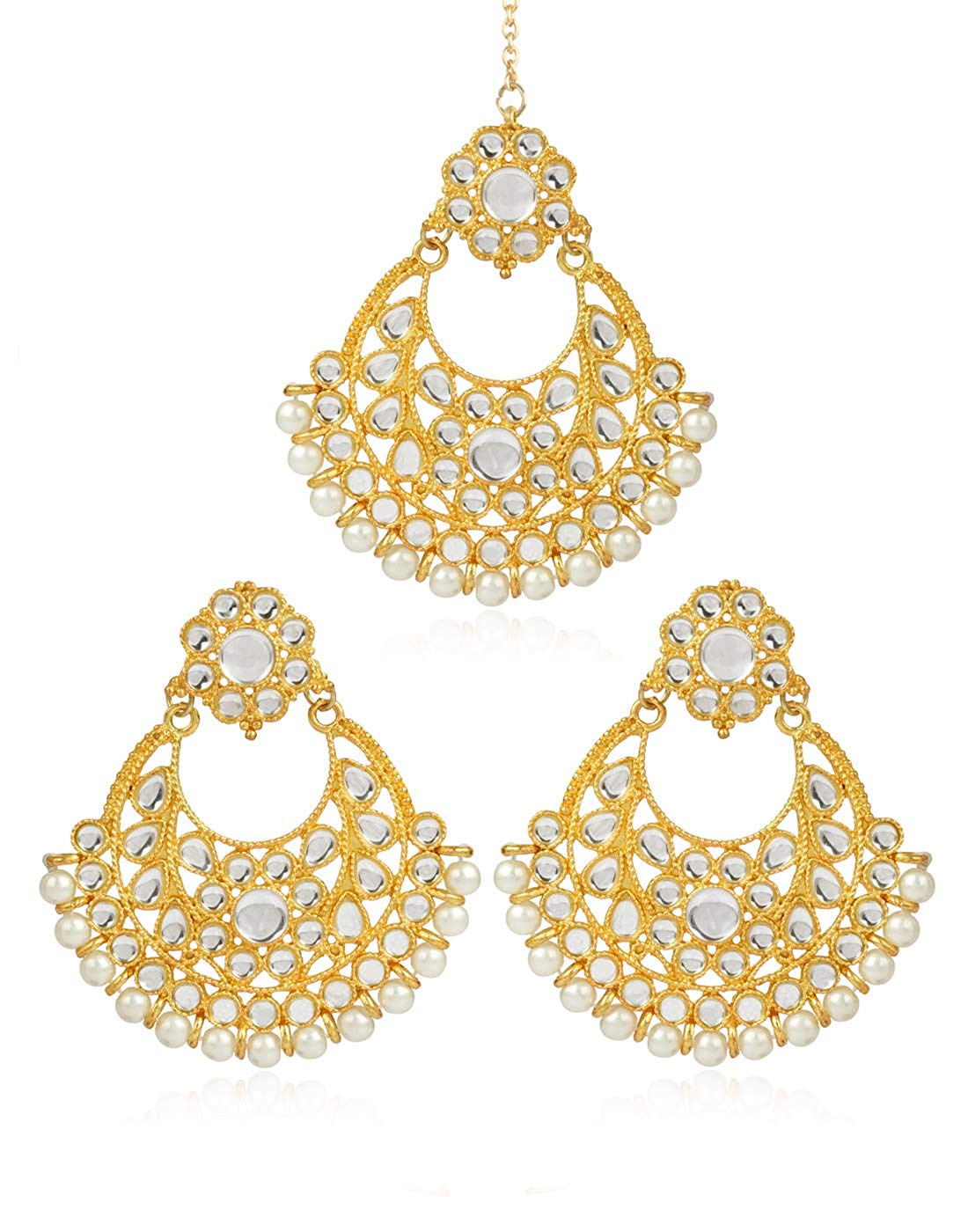 Karatcart GoldPlated Fashion Chandbali Hook Dangler Stylish Fancy Party Wear Earrings with Maang-Tikka For Women